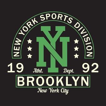 뉴욕 브루클린 프린트 로고 티셔츠 스포츠 의류용 그래픽 디자인 의류용 타이포그래피