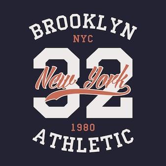 뉴욕 브루클린 스포츠 의류 tshirt 빈티지 옷 인쇄에 대한 타이포그래피 엠블럼