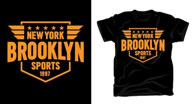 Tシャツのニューヨークブルックリンスポーツタイポグラフィデザイン
