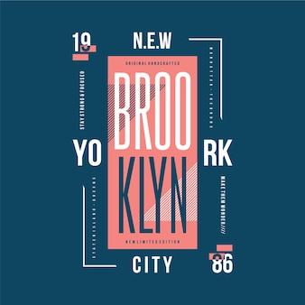 Нью-йорк, бруклин, текстовый фрейм, стильная футболка, типография