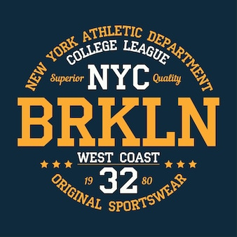 디자인 의류에 대한 뉴욕 브루클린 타이포그래피 인쇄 제품에 대한 운동 tshirt 그래픽