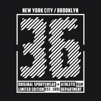 운동복 디자인을 위한 뉴욕 브루클린 타이포그래피 티셔츠 그래픽