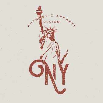 New york city apparel design with statue of liberty, print for t-shirt, monochrome style
