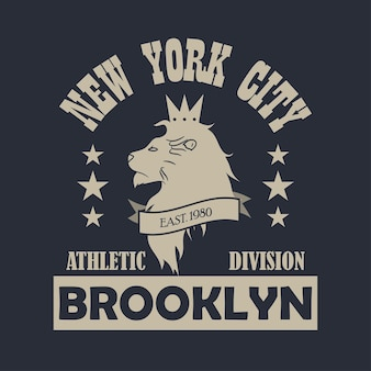 New york city, brooklyn typography print with lion. design clothes, sportswear, t-shirt. vector illustration.