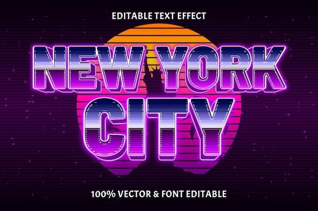 뉴욕시 편집 가능한 텍스트 효과 복고 스타일