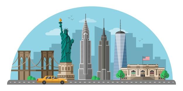 Плоская иллюстрация города нью-йорка, изолированный клипарт современного мегаполиса сша, всемирно известные достопримечательности сша и элементы дизайна мультфильма туристических достопримечательностей