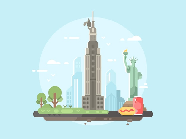 New york city flat. monument statue of liberty. vector illustration