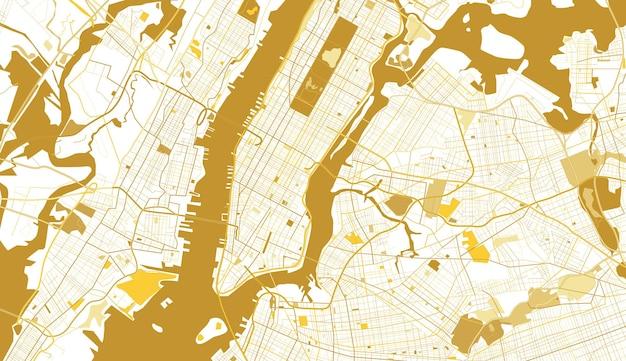 ニューヨーク市のゴールデンマップ。ベクトルイラスト。