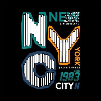 뉴욕시 그래픽 스트라이프 타이포그래피 디자인 티셔츠 디자인벡터 일러스트 레이 션