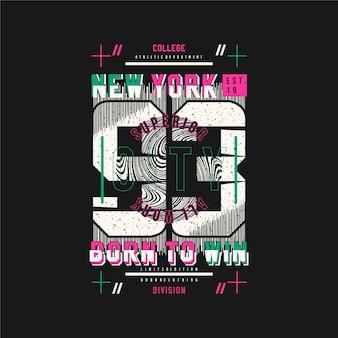 T 셔츠 인쇄를위한 뉴욕시 그래픽 타이포그래피 그림