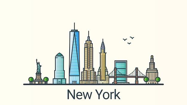 Нью-йорк в модном стиле плоской линии