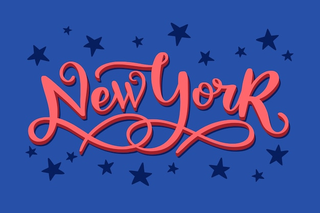 New york city lettering on blue background