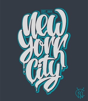 Нью-йорк, дизайн надписи рукописные фразы.