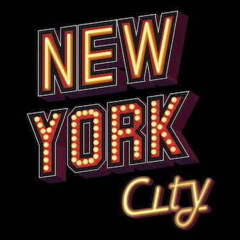 New york city lettering in the form of illuminated signs with a neon effect