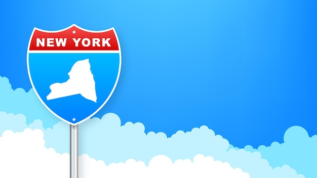New york city map outline road sign. vector illustration.