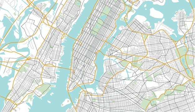 ニューヨーク市の地図。ベクトルイラスト。