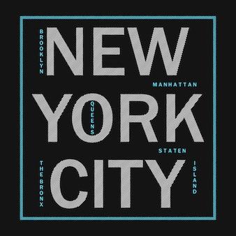 ニューヨーク市のデザイン服のモダンなタイポグラフィアスレチックtシャツ印刷物のグラフィック