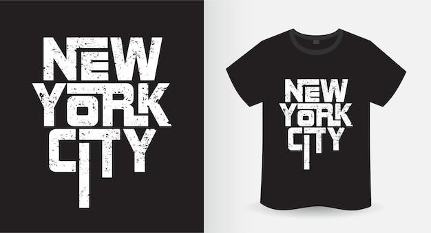 뉴욕시 현대 타이포그래피 티셔츠 디자인