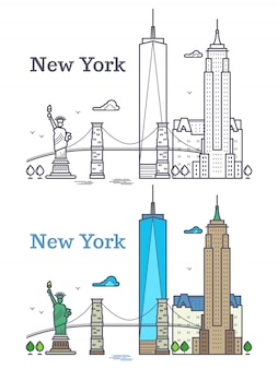 New york city outline skyline, nyc line silhouette, usa tourist and travel concept