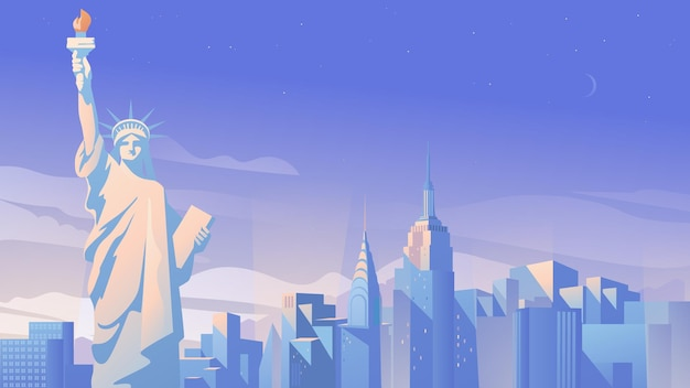 Панорама города нью-йорка плоский мультяшный стиль иллюстрация веб-фона