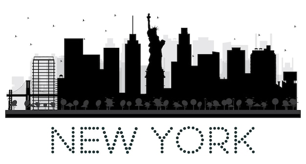 뉴욕시 스카이 라인 흑백 실루엣입니다. 벡터 일러스트 레이 션. 관광 프레젠테이션, 배너, 현수막 또는 웹 사이트를 위한 단순한 평면 개념입니다. 랜드마크가 있는 도시 풍경.