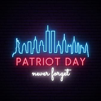 New york city skyline with twin towers in neon style. patriot day.