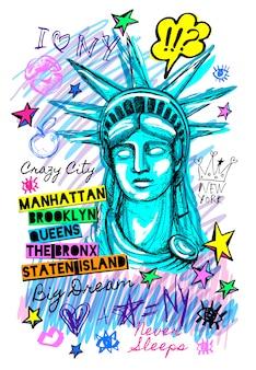 New york city statue of liberty Premium Vector