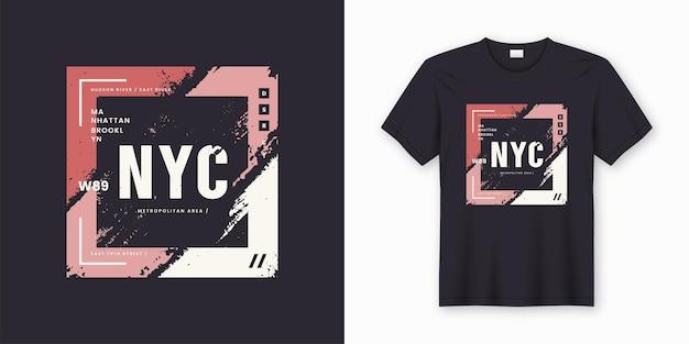 ニューヨーク市のスタイリッシュなtシャツとアパレルの要約。印刷、タイポグラフィ、ポスター。グローバル見本。