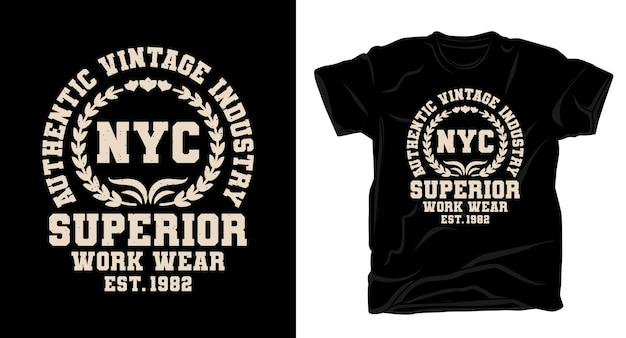ニューヨーク市の優れた作業着のタイポグラフィtシャツのデザイン