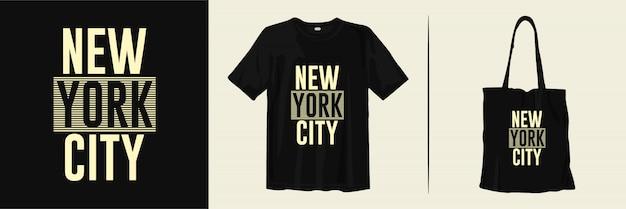 商品のニューヨーク市のtシャツとトートバッグのデザイン