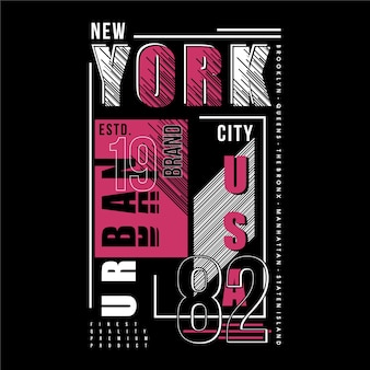 New york city text frame striped graphic t shirt design typography