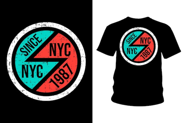 New york city text t shirt typography design