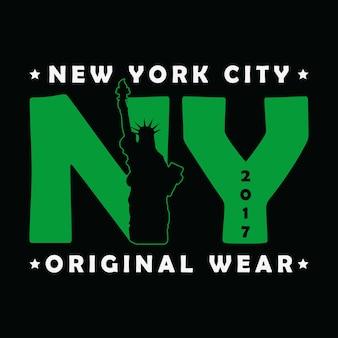 뉴욕시 자유의 여신상 프린트 티셔츠를 위한 현대적인 도시 그래픽