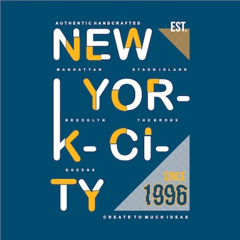 New york city typographic design apparel clothing