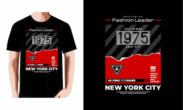 Дизайн футболки типографии нью-йорк премиум векторы