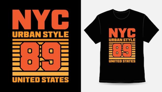 Нью-йорк городской стиль восемьдесят девять современный типографский дизайн футболки