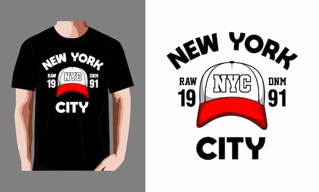 帽子デザインのtシャツを着たニューヨーク市