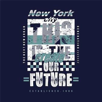 New york city with slogan lettering