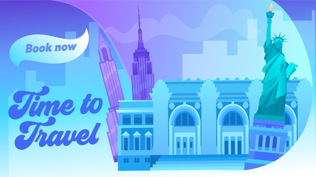 New york cityscape with all famous building color image. around world travel concept banner. world trade center, statue of liberty united state of american symbol. flat cartoon vector illustration
