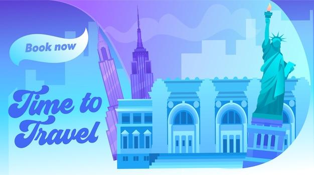 すべての有名な建物のカラー画像を備えたニューヨークの街並み。アラウンドワールドトラベルコンセプトバナー。世界貿易センター、自由の女神アメリカ合衆国シンボル。フラット漫画ベクトルイラスト
