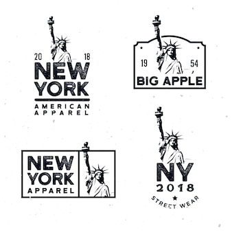 New york clothing badges, design t-shirt prints with detailed monochrome statue of liberty