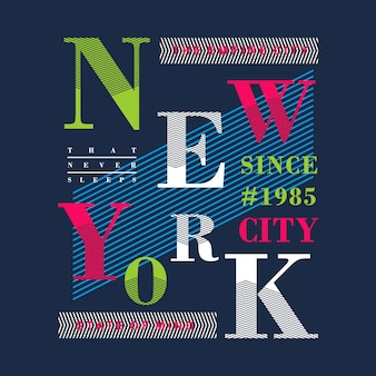 New york colorful graphic t shirt design vector