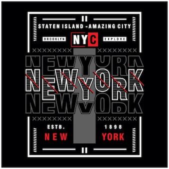 ニューヨークのクリエイティブなtシャツのタイポグラフィイラスト