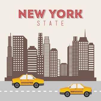 Нью-йорк дизайн на бежевом фоне векторные иллюстрации