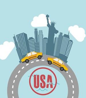 New york design over sky background vector illustration