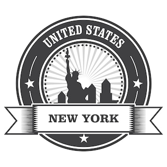 Эмблема нью-йорка со статуей свободы