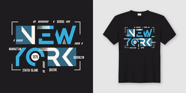 Футболка и одежда в геометрическом абстрактном стиле new york, ty
