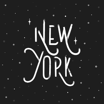 New york - grunge hand lettering inscription vector.