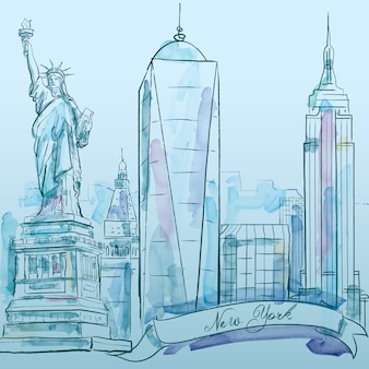 New york iconic building vector watercolor sketch