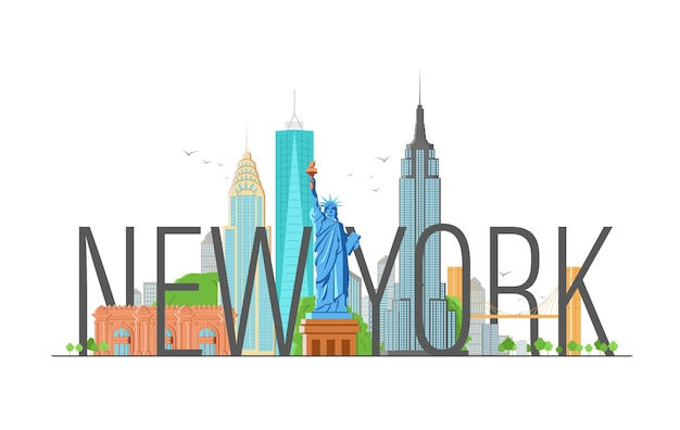 Нью-йорк иллюстрация с современной каллиграфией и статуей свободы.